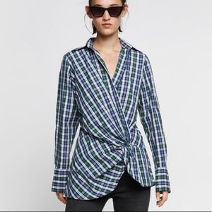 NEW| ZARA 100% Cotton Plaid Shirt